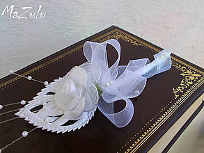 Pierka - biele svadobné pierko č.25 - 5404179_