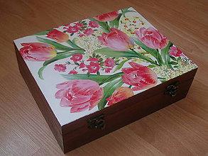 Krabičky - 12 priečinková krabica nielen na čaj tulipánová - 5443207_