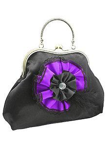 Kabelky - Spoločenská dámská kabelka čierno fialová 1110 - 5462408_