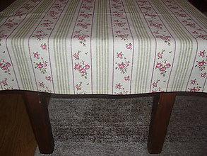 Úžitkový textil - Obrus ružičkový s prúžkami 126x73 cm - 5463348_