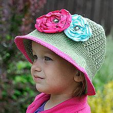 Detské čiapky - Zľava z 15 na 9 eur - Zeleno-ružový klobúk - 5469482_
