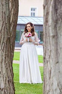 Šaty - ľahučké splývavé vílovské šaty s dlhým rukávom - 5470367_