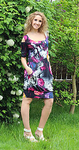 Šaty - Květované šaty s vykrojenými rukávy - 5474441_