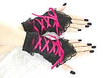- Bezprsté gothic čierno růžové rukavice  0990 - 5481593_