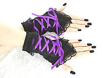 - Bezprsté gothic čierno fialové rukavice  0990 - 5481596_
