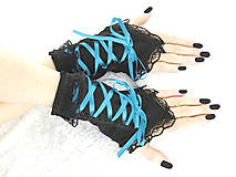 - Bezprsté gothic čierno tyrkysové rukavice  0990 - 5481600_