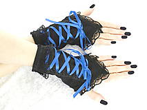 - Bezprsté gothic čierno modré rukavice  0990 - 5481602_