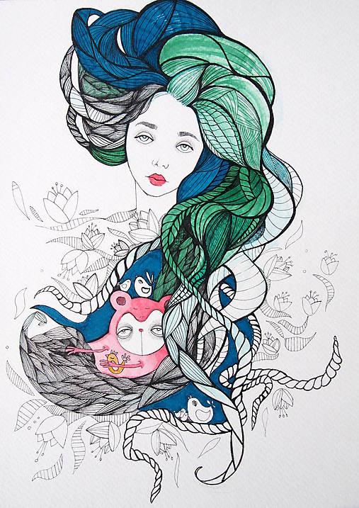 Kresby - Slečna kvetová - 5480828_