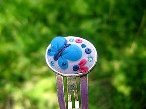 Ozdoby do vlasov - Modrý motýľ - sponka č.178 - 5489634_