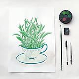 Kresby - Šálka čaju - zelený / originál - 5510495_