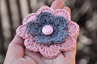 Ozdoby do vlasov - Sponka...šedo-ružový kvet - 5529790_