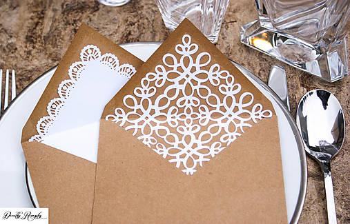 svadobné recy obálky s čipkovaným vnútrom