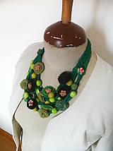 Náhrdelníky - Originálny textilný náhrdelník-zelený - 5554168_
