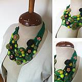 Náhrdelníky - Originálny textilný náhrdelník-zelený - 5554169_