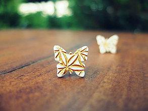 Náušnice - Motýle zlatisté - 5577631_