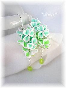 Náušnice - Srdiečkové kvetinky mätovo zelené. - 5590562_
