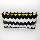 Kabelky - čierno biela ecoistka so žltou - 5593050_