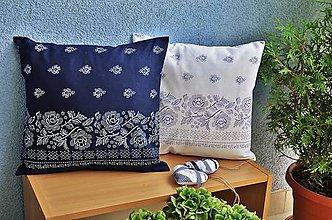Úžitkový textil - Poduška s modrotlačovým motívom - 5602212_