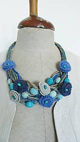 Náhrdelníky - Náhrdelník textilný prírodne modrý - 5605242_