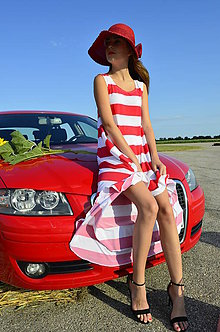 Šaty - maxi RED/WHITE by coccomo - 5609437_