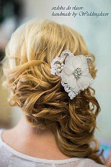 Ozdoby do vlasov - Svadobná čipkovaná do účesu - 5615655_