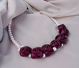Náhrdelníky - Rose - bordó/ružová - 5624589_