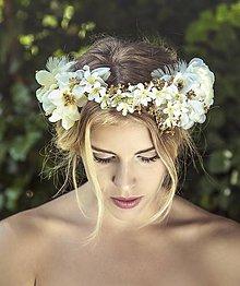 Ozdoby do vlasov - Venček bielo-zlatý by Hogo Fogo - 5676060_