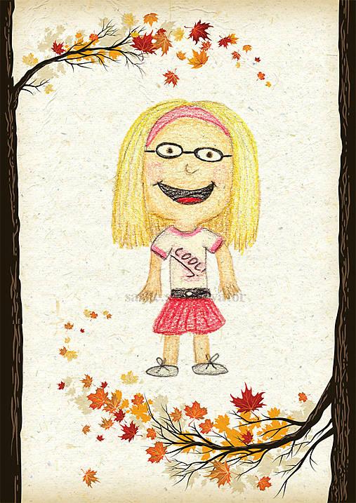 Jesenná linajková podložka do zošita - Štýlová školáčka