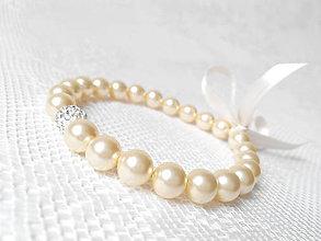 Náramky - Light gold bracelet (Swarovski pearls) - 5700389_