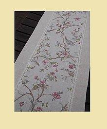 Úžitkový textil - BĚHOUN PTÁČCI 42 x 95cm lněný - 5725869_