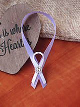 Darčeky pre svadobčanov - Dvojfarebné stuhy na fľaše so štrasovým šperkom  - 5747700_