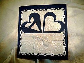 Papiernictvo - Elegantné blahoželanie k svadbe (tmavo-modrá) - bez textu - 5754090_