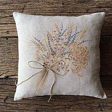 Úžitkový textil - Kytica na plátne - dekoračný vankúšik - 5758247_