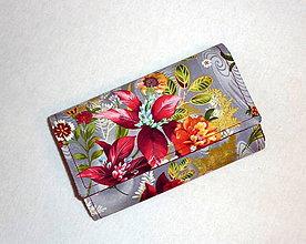 Peňaženky - Peňaženka -Kytica na sivej. - 5796033_