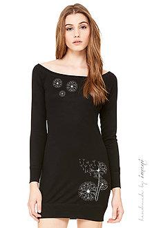 Šaty - Dámske mini šaty čierny úplet dlhý rukáv  PÚPAVA - 5805101_