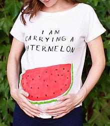 Tehotenské oblečenie - I´m carrying a WATERMELON, tehotenské tričko - 5820989_
