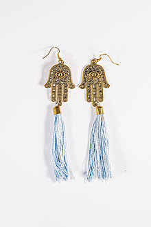 Náušnice - boho hamsa – blue - 5856640_