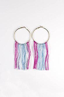 Náušnice - boho náušnice – pink & blue - 5856655_