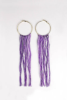 Náušnice - boho náušnice – purple - 5856674_