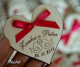 Darčeky pre svadobčanov - Svadobné magnetky srdiečko s vtáčikmi - 5856044_