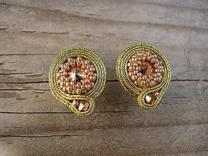 Náušnice - Mini Gold...soutache - 5862992_