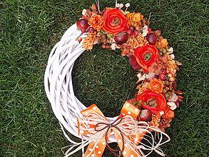Dekorácie - Veľký jesenný veniec 32cm - 5872112_