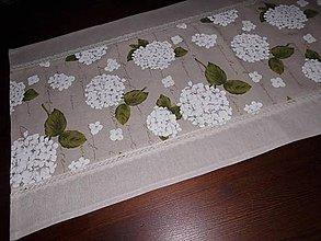 Úžitkový textil - BĚHOUN KVĚTY 41 x95 cm lněný s krajkou - 5891811_