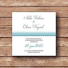 Papiernictvo - Svadobné oznámenie Blue Stripes - 5892622_