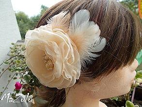 Ozdoby do vlasov - svetlolososová spona al brošňa - 5895803_