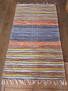 Úžitkový textil - koberec tkaný rifľový+ oranž 0,7 x 1,4 m - 5921840_