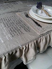 Úžitkový textil - Ľanový obrus Manuscrit - 5928312_