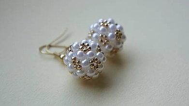 Náušnice - náušnice bielo-zlaté - 5940841_