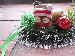 Svietidlá a sviečky - vianočný svietniček sova - 5940543_