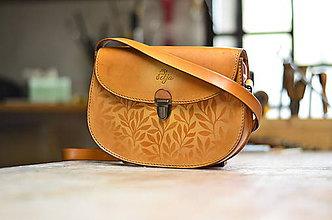 Kabelky - kabelka kožená PANACEA No.2, vzor Bylinky, S - 5951810_